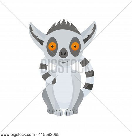 A Happy Grey Lemur Sits And Hugs Itself With Its Fluffy Tail. Cute Baby Animal In Cartoon Style. Vec