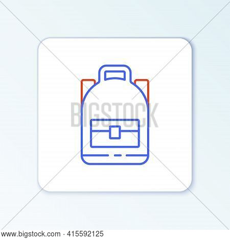 Line Hiking Backpack Icon Isolated On White Background. Camping And Mountain Exploring Backpack. Col