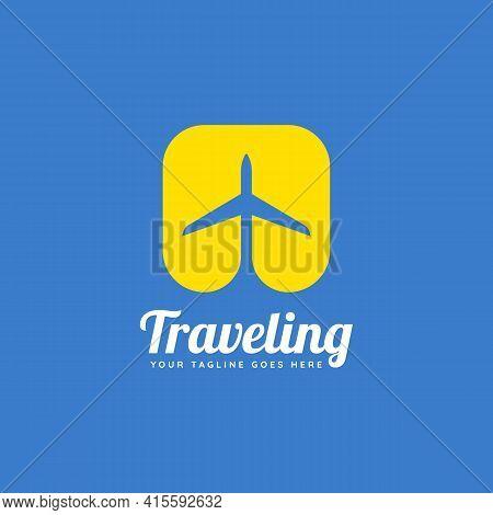Traveling Flight Tour Minimalist Flat Logo Template Vector Illustration Design. Simple Modern Tour,