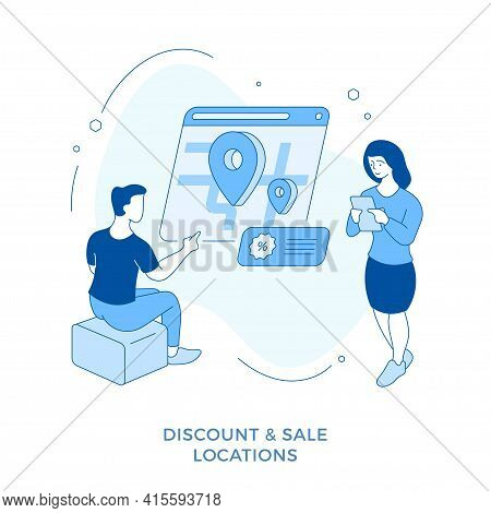 Discount And Sale Locations. Linear Flat Illustration. Male And Female Cartoon Characvters Searching