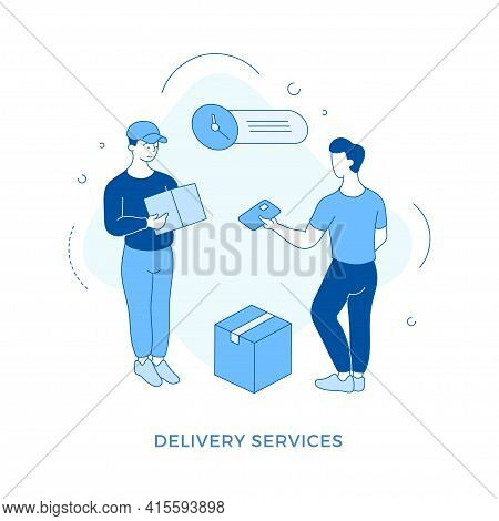 Linear Flat Delivery Service Concept Illustration. Male Cartoon Character Customer Paying To Courier