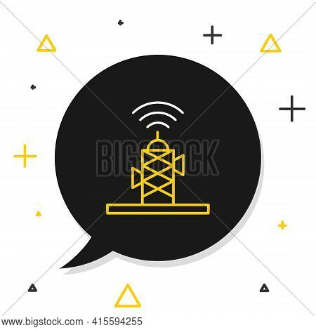 Line Wireless Antenna Icon Isolated On White Background. Technology And Network Signal Radio Antenna