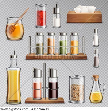 Seasoning Spices Herbs Kitchen Racks Cooking Oil Carafe  Sugar Dispenser And Honey Jar Realistic Set