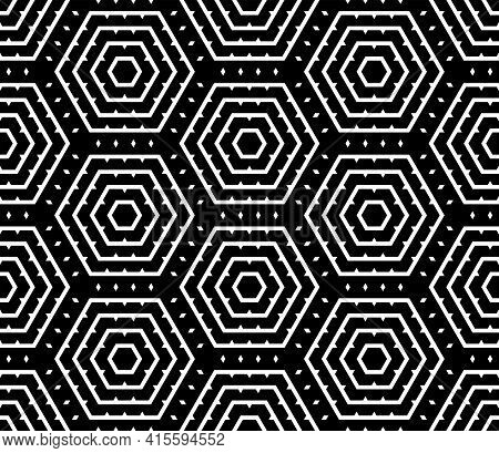 Abstract Seamless Geometric Hexagons Pattern And Texture. Vector Art.