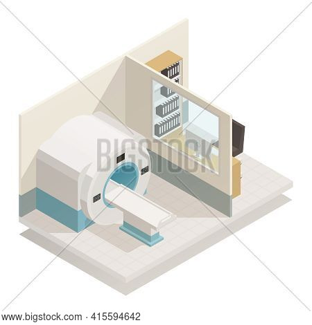 Medical Diagnostic Equipment Isometric Composition With Mri Magnetic Resonance Imaging Scanner Radio
