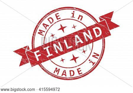 An Impression Of A Seal With The Inscription Made In Finland, Isolated On A White Background