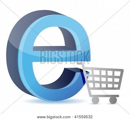 Cesta de consumo com um sinal de Internet