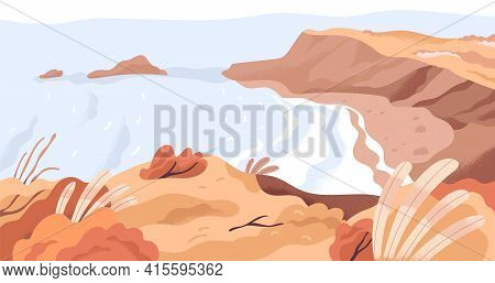 Panoramic View Of Nature Landscape With Sea Bay And Empty Beach In Fall. Calm Autumn Seascape Panora