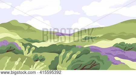 Panoramic View Of Summer Nature Landscape With Grass, Hills And Flowers In Good Weather. Scenic Pano