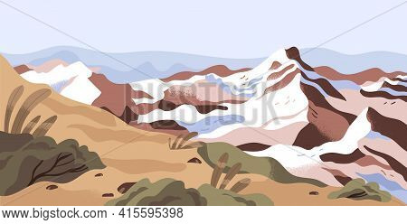 Panoramic View Of Calm Nature Landscape With Snowy Mountain Tops And Sky Horizon. Peaceful Scenic Pa