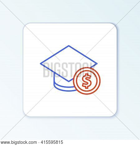 Line Graduation Cap And Coin Icon Isolated On White Background. Education And Money. Concept Of Scho
