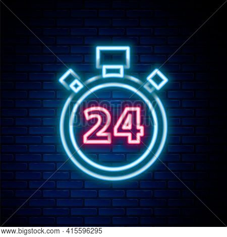 Glowing Neon Line Stopwatch 24 Hours Icon Isolated On Brick Wall Background. All Day Cyclic Icon. 24