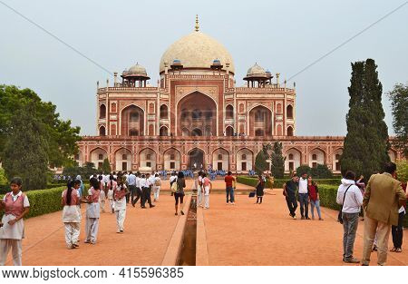 NEW DELHI, INDIA - OCTOBER 27, 2015: Humayun's Tomb. Tourist gather at the one of the most famous Mughal buildings in New Delhi.