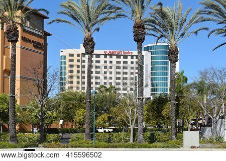 GARDEN GROVE, CALIFORNIA - 31 MAR 2021: Marriott Suites and Delta Hotels on Harbor Boulevard in the Anaheim Resort area.