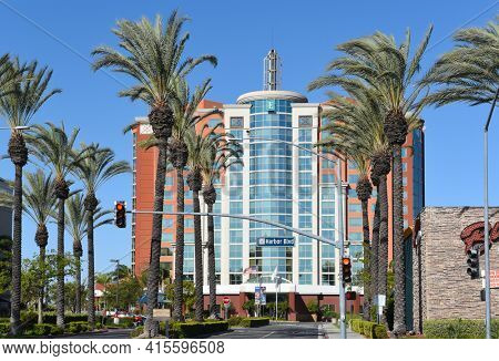 ANAHEIM, CALIFORNIA - 31 MAR 2021: Embassy Suites on Harbor Boulevard in the Anaheim Resort Area.