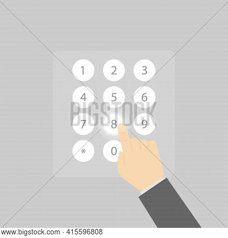 Enter Numbers On The Virtual Numeric Keypad. A Man's Hand Touches The Numbers On The Virtual Keyboar