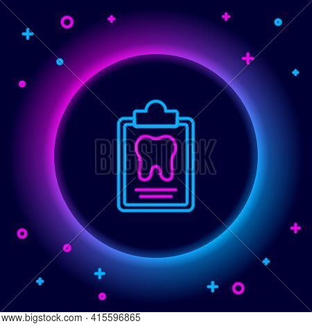 Glowing Neon Line Clipboard With Dental Card Or Patient Medical Records Icon Isolated On Black Backg