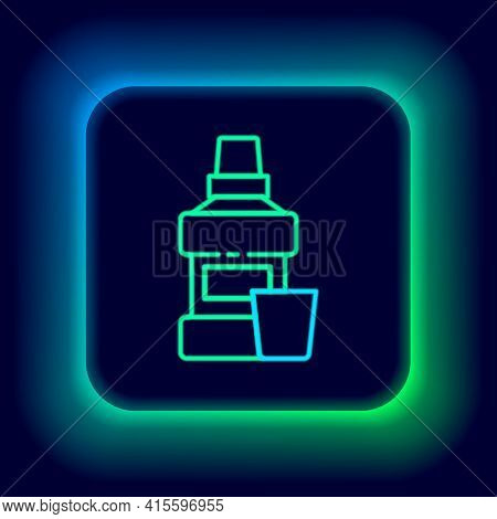 Glowing Neon Line Mouthwash Plastic Bottle And Glass Icon Isolated On Black Background. Liquid For R