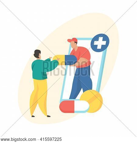 Online Pharmacy Concept. Drugs Delivery. Male Cartoon Character Courier Giving Medicines To Buyer. O