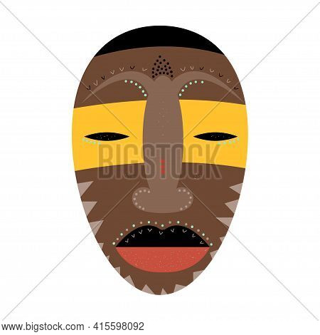 African Mask. Abstract Minimalist Voodoo Mask Pattern Background For T Shirt Design, Greeting Card,