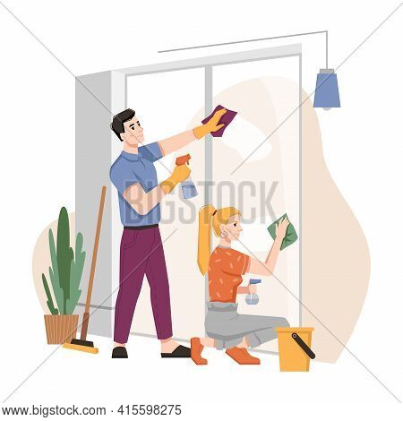 Couple Washing Windows At Home Together. Housework Chores, Husband And Wife Doing House Work Domesti
