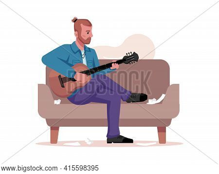Musician Plays Guitar, Writes Music Isolated Guitarist Sitting On Sofa With Musical Instrument. Flat