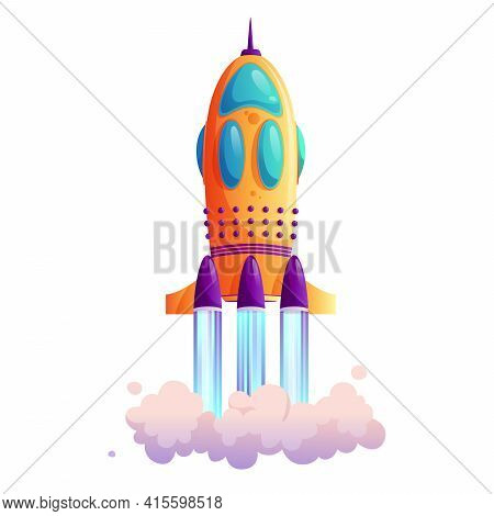 Takeoff Of Rocketship, Traces And Clouds, Shuttle Flight Isolated Cartoon Icon. New Project Or Busin