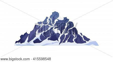 Snowy Rocky Mountain Cliff Isolated Cartoon Icon. Top Of Mount Ridge, Hiking And Climbing Expedition