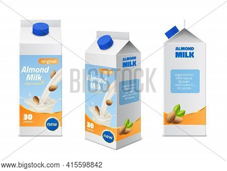 Milk Packaging Design. Realistic Almonds Drink Boxes Different Angles View, Natural Vegan Beverages,