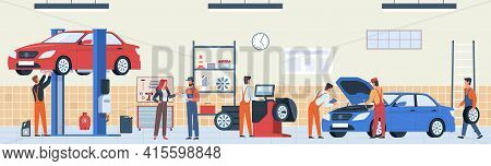 Auto Repair Service. Car Workshop Panorama, Mechanics Team In Garage Do Technical Inspection And Dig