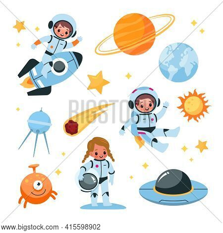 Kids Space Elements Collection. Astronaut Children With Cosmic Items, Planets And Satellite, Boy In