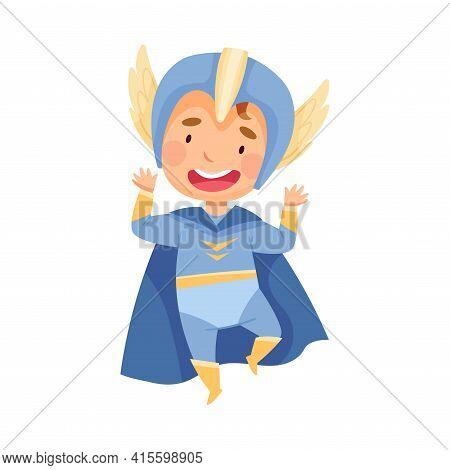 Cute Boy Wearing Cape And Helmet As Superhero Jumping Pretending Having Power For Fighting Crime Vec