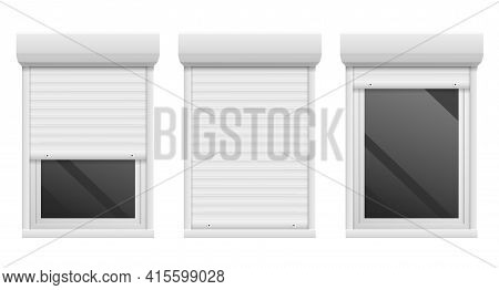 Rolling Shutters. Realistic Facade Roller Blind, Window Metal Frame. 3d Open And Close White Jalousi