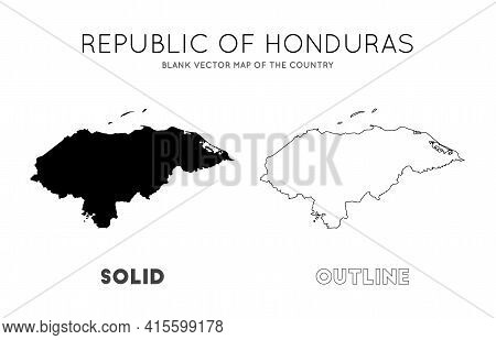 Honduras Map. Blank Vector Map Of The Country. Borders Of Honduras For Your Infographic. Vector Illu