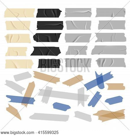 Transparent Adhesive Tapes. Scotch Tape Collection. Black White And Colored Strips With Glue, Old An