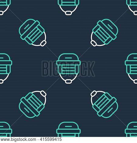 Line Hockey Helmet Icon Isolated Seamless Pattern On Black Background. Vector