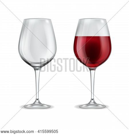 Wine Glass Realistic. 3d Empty Glassware And With Half Filled Red Wine. Alcoholic Drink In Elegant T