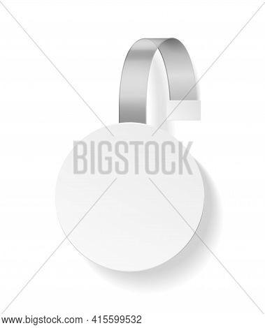 Wobbler Advertising. Plastic White Round Empty Hanging Paper Tag, Sticker For Merchandiser In Superm