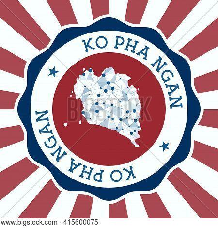 Ko Pha Ngan Badge. Round Logo Of Island With Triangular Mesh Map And Radial Rays. Eps10 Vector.