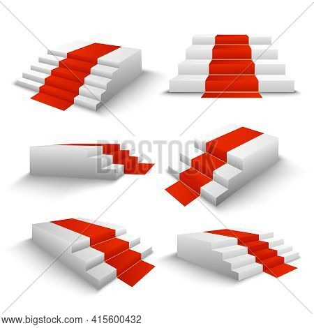 Festive Events Red Carpet White Stairs 3d Elements Set Front Side Top View Realistic Isolated Vector
