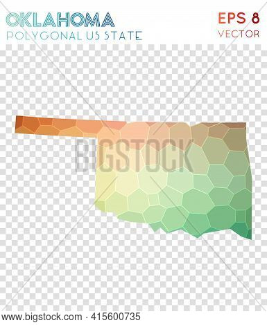 Oklahoma Polygonal, Mosaic Style Us State Map. Beautiful Low Poly Style, Modern Design For Infograph