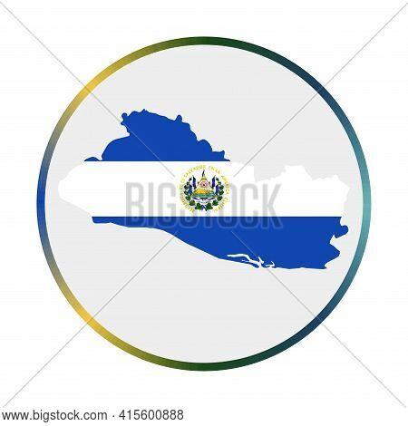 Republic Of El Salvador Icon. Shape Of The Country With Republic Of El Salvador Flag. Round Sign Wit