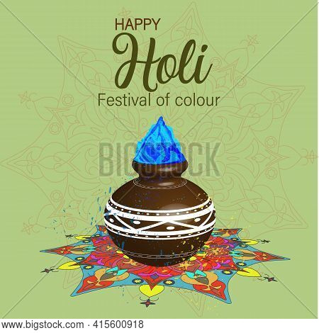 Happy Holi Vector Elements For Card Design. Illustration Of Abstract Colorful Happy Holi Background