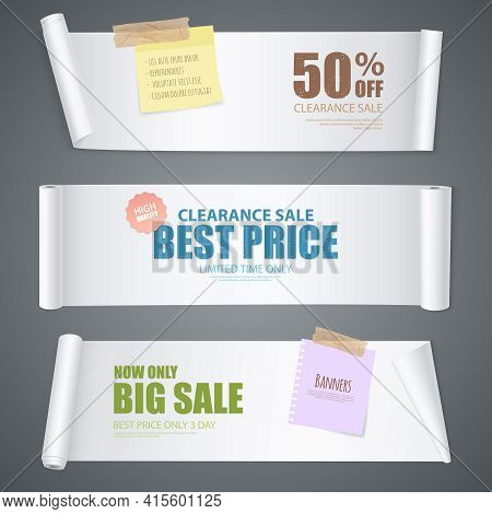 Realistic Scroll Paper Banners On Clearance Sale Theme With Best Price And Limited Time Only Headlin