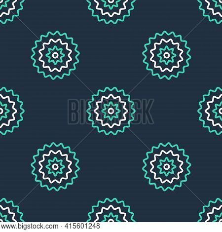 Line Bicycle Cassette Mountain Bike Icon Isolated Seamless Pattern On Black Background. Rear Bicycle