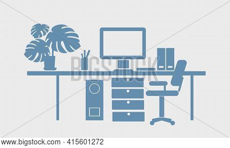 Freelancer Workplace Flat Silhouette Vector Illustration. The Computer Workplace Is Isolated On A Wh