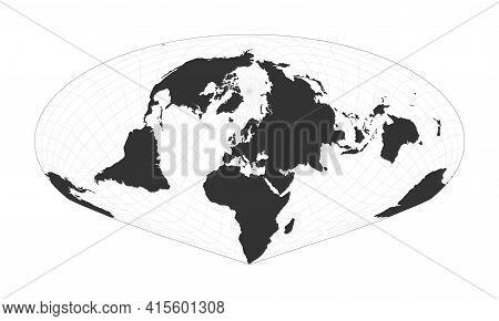 Map Of The World. Allen K. Philbrick's Sinu-mollweide Projection. Globe With Latitude And Longitude