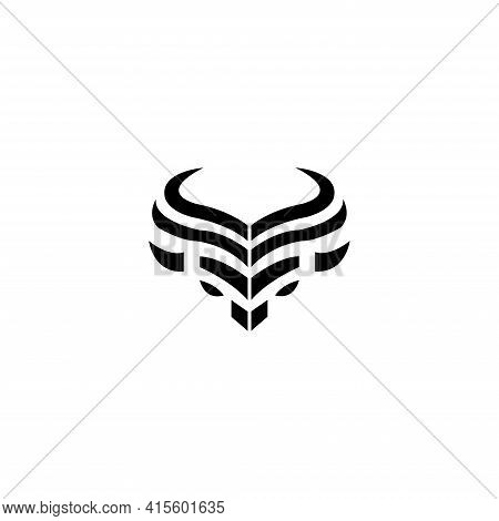 Simple Head Bison Abstract Logo Design Template