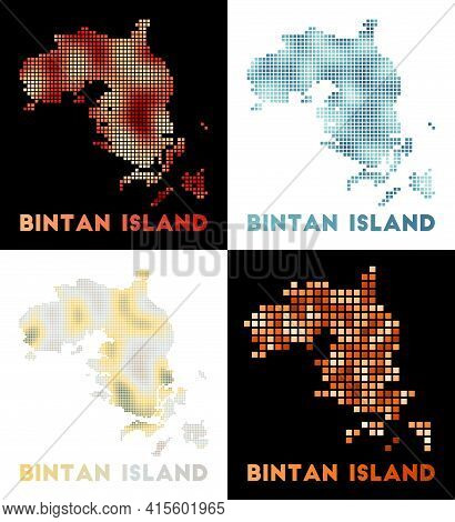 Bintan Island Map. Collection Of Map Of Bintan Island In Dotted Style. Borders Of The Island Filled