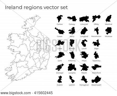 Ireland Map With Shapes Of Regions. Blank Vector Map Of The Country With Regions. Borders Of The Cou